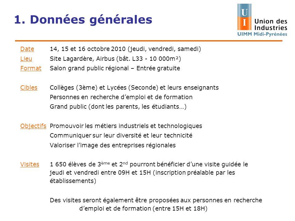 1. Données générales Date 14, 15 et 16 octobre 2010 (jeudi, vendredi, samedi) Lieu Site Lagardère, Airbus (bât. L33 - 10 000m²) FormatSalon grand publ
