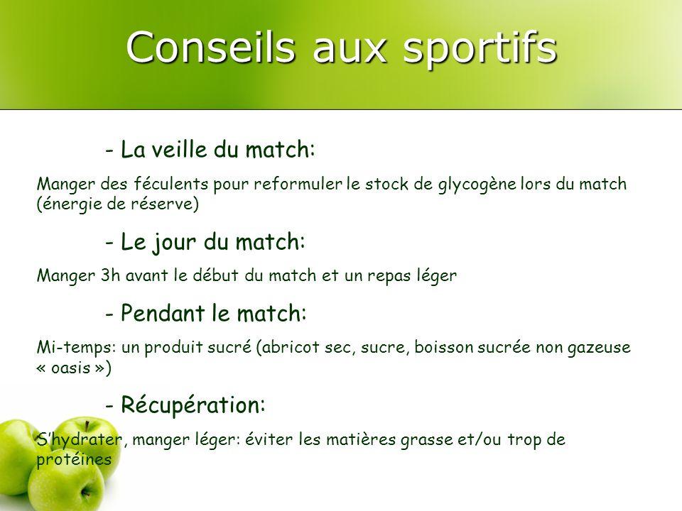 Conseils aux sportifs - La veille du match: Manger des féculents pour reformuler le stock de glycogène lors du match (énergie de réserve) - Le jour du