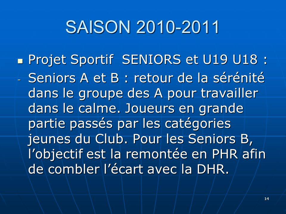 14 SAISON 2010-2011 Projet Sportif SENIORS et U19 U18 : Projet Sportif SENIORS et U19 U18 : - Seniors A et B : retour de la sérénité dans le groupe de