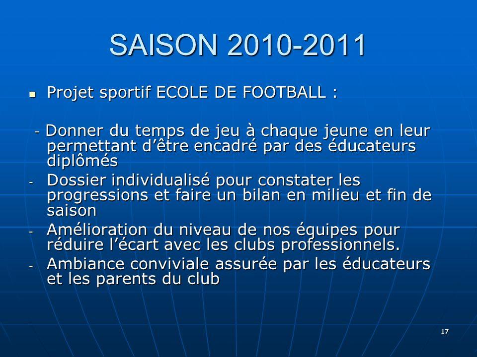 17 SAISON 2010-2011 Projet sportif ECOLE DE FOOTBALL : Projet sportif ECOLE DE FOOTBALL : - Donner du temps de jeu à chaque jeune en leur permettant d