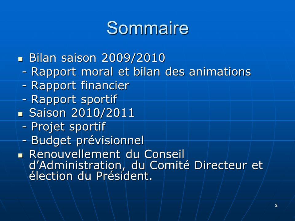 2 Sommaire Bilan saison 2009/2010 Bilan saison 2009/2010 - Rapport moral et bilan des animations - Rapport moral et bilan des animations - Rapport fin
