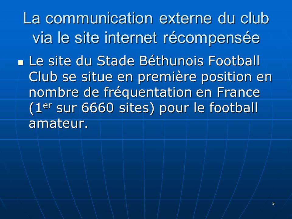 5 La communication externe du club via le site internet récompensée Le site du Stade Béthunois Football Club se situe en première position en nombre d