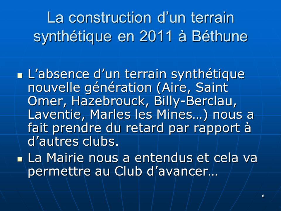 6 La construction dun terrain synthétique en 2011 à Béthune Labsence dun terrain synthétique nouvelle génération (Aire, Saint Omer, Hazebrouck, Billy-