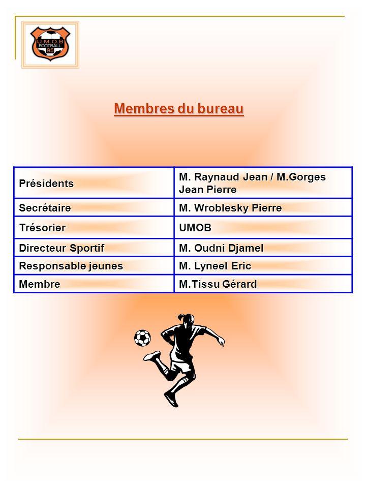 Présidents M. Raynaud Jean / M.Gorges Jean Pierre Secrétaire M. Wroblesky Pierre TrésorierUMOB Directeur Sportif M. Oudni Djamel Responsable jeunes M.