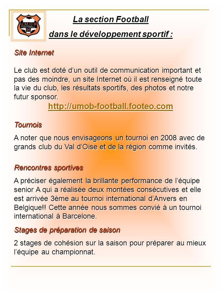 La section Football dans le développement sportif : Site Internet Le club est doté dun outil de communication important et pas des moindre, un site In