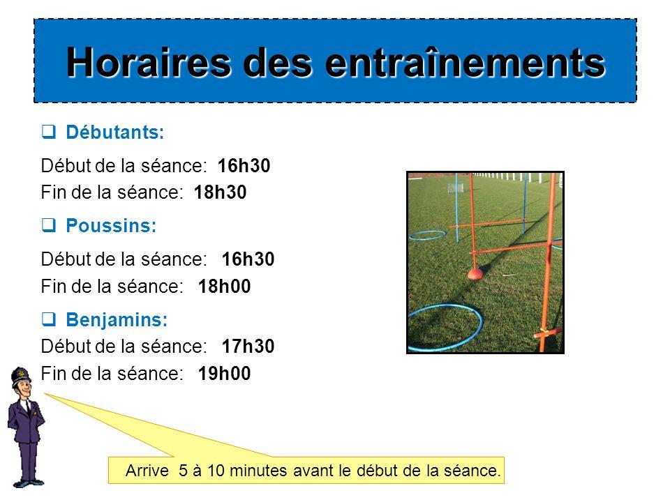 Débutants: Début de la séance: 16h30 Fin de la séance: 18h30 Poussins: Début de la séance: 16h30 Fin de la séance: 18h00 Benjamins: Début de la séance