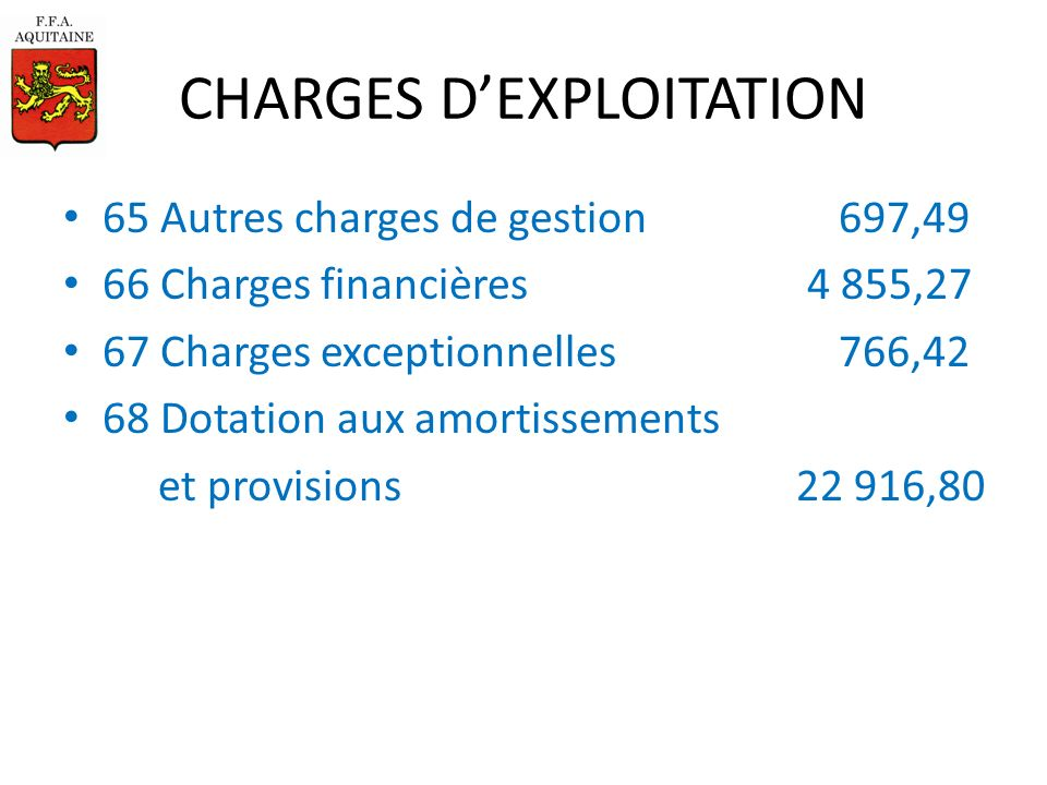 CHARGES DEXPLOITATION 65 Autres charges de gestion 697,49 66 Charges financières 4 855,27 67 Charges exceptionnelles 766,42 68 Dotation aux amortissements et provisions22 916,80