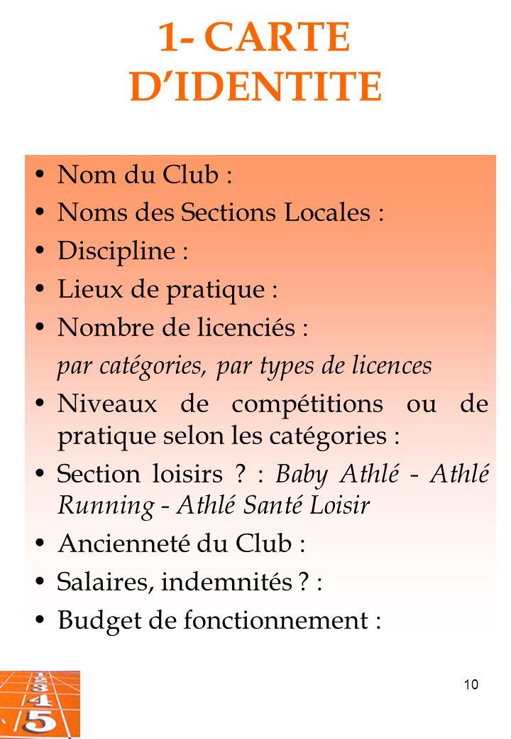 10 1- CARTE DIDENTITE Nom du Club : Noms des Sections Locales : Discipline : Lieux de pratique : Nombre de licenciés : par catégories, par types de licences Niveaux de compétitions ou de pratique selon les catégories : Section loisirs .