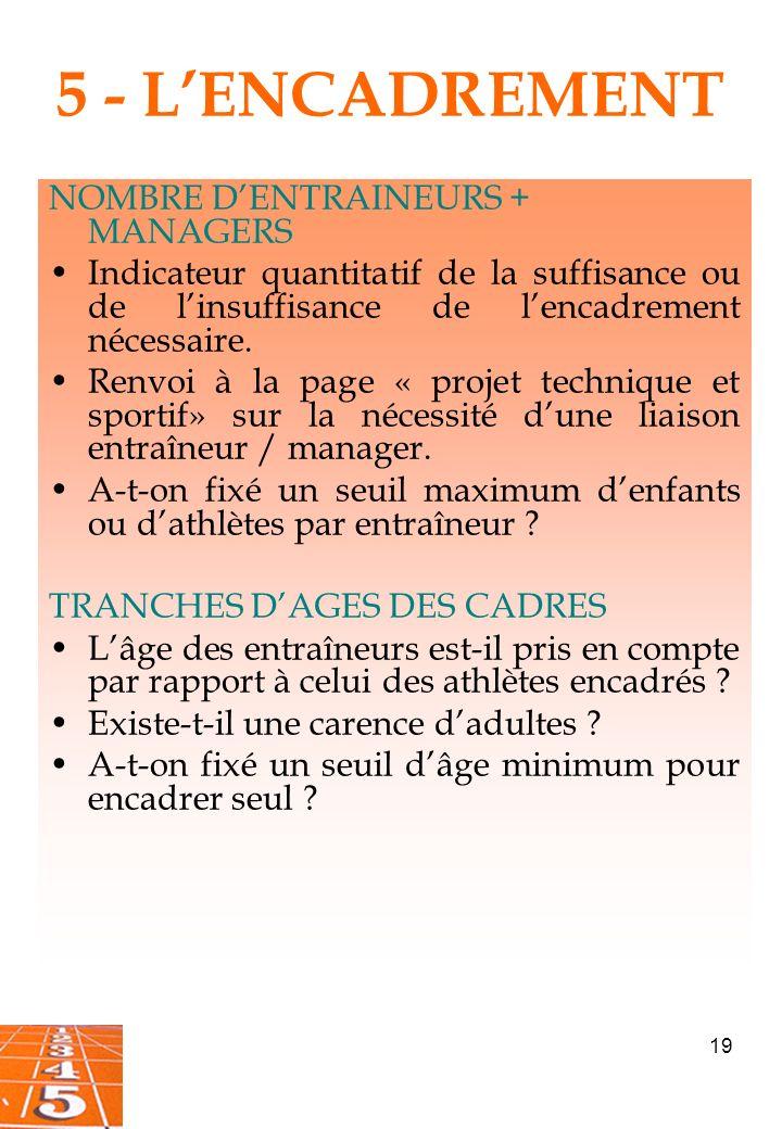19 5 - LENCADREMENT NOMBRE DENTRAINEURS + MANAGERS Indicateur quantitatif de la suffisance ou de linsuffisance de lencadrement nécessaire.