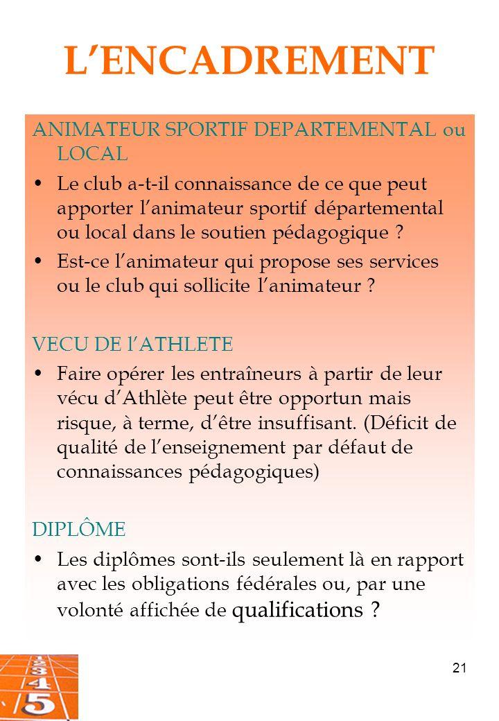 21 LENCADREMENT ANIMATEUR SPORTIF DEPARTEMENTAL ou LOCAL Le club a-t-il connaissance de ce que peut apporter lanimateur sportif départemental ou local dans le soutien pédagogique .