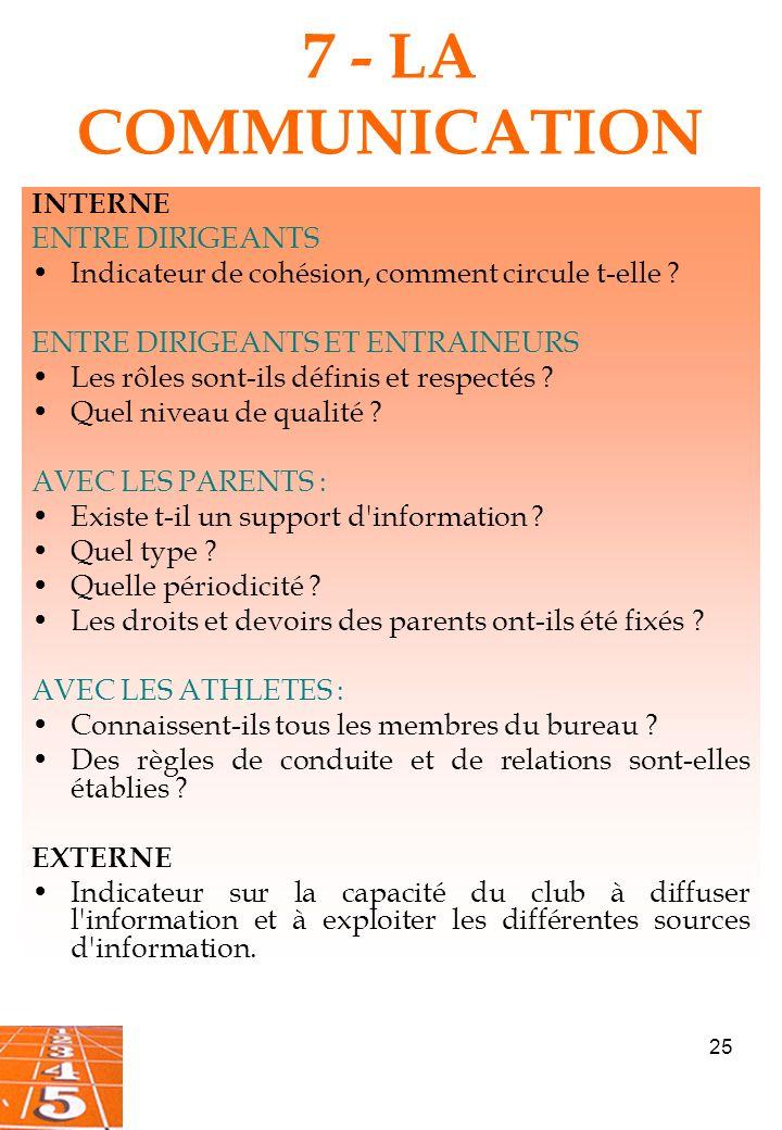 25 7 - LA COMMUNICATION INTERNE ENTRE DIRIGEANTS Indicateur de cohésion, comment circule t-elle .