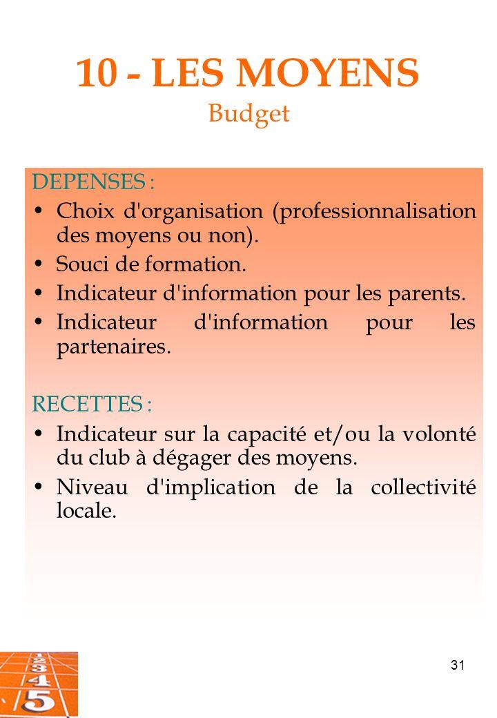 31 10 - LES MOYENS Budget DEPENSES : Choix d organisation (professionnalisation des moyens ou non).