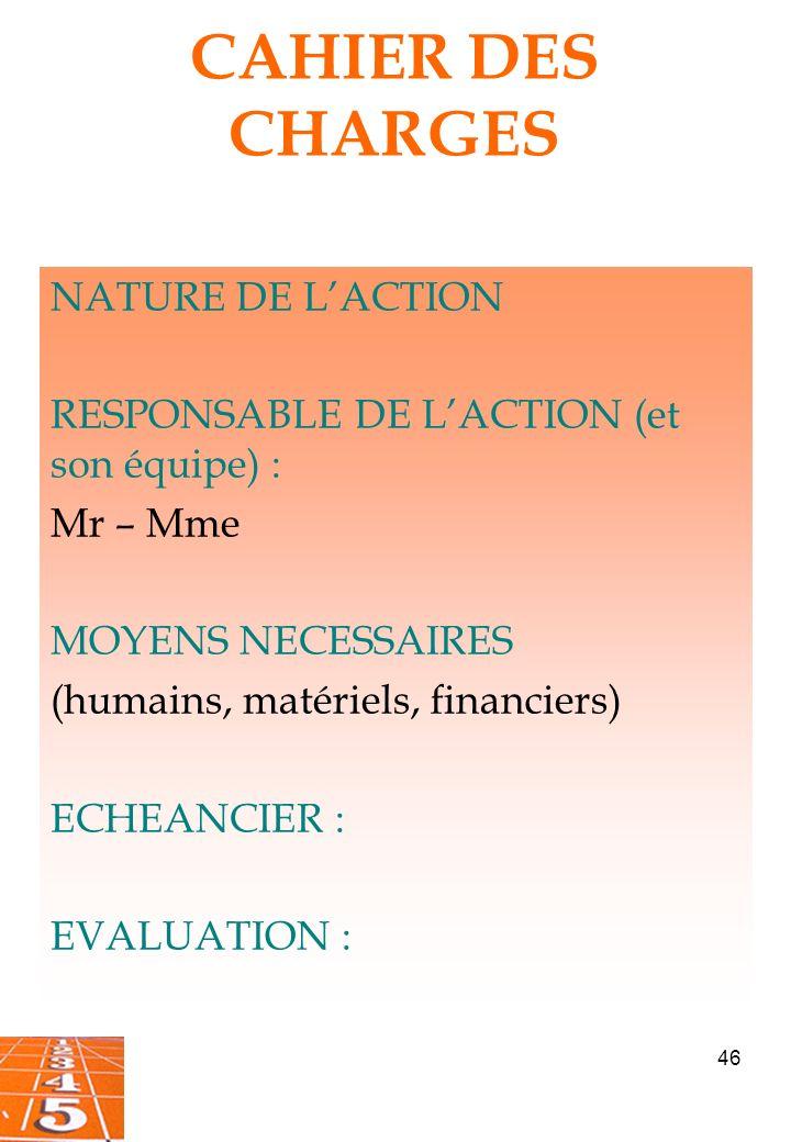 46 CAHIER DES CHARGES NATURE DE LACTION RESPONSABLE DE LACTION (et son équipe) : Mr – Mme MOYENS NECESSAIRES (humains, matériels, financiers) ECHEANCIER : EVALUATION :