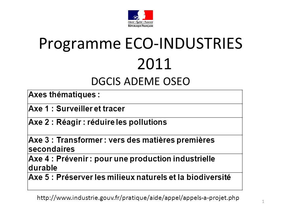 Programme ECO-INDUSTRIES 2011 DGCIS ADEME OSEO Axes thématiques : Axe 1 : Surveiller et tracer Axe 2 : Réagir : réduire les pollutions Axe 3 : Transformer : vers des matières premières secondaires Axe 4 : Prévenir : pour une production industrielle durable Axe 5 : Préserver les milieux naturels et la biodiversité 1 http://www.industrie.gouv.fr/pratique/aide/appel/appels-a-projet.php