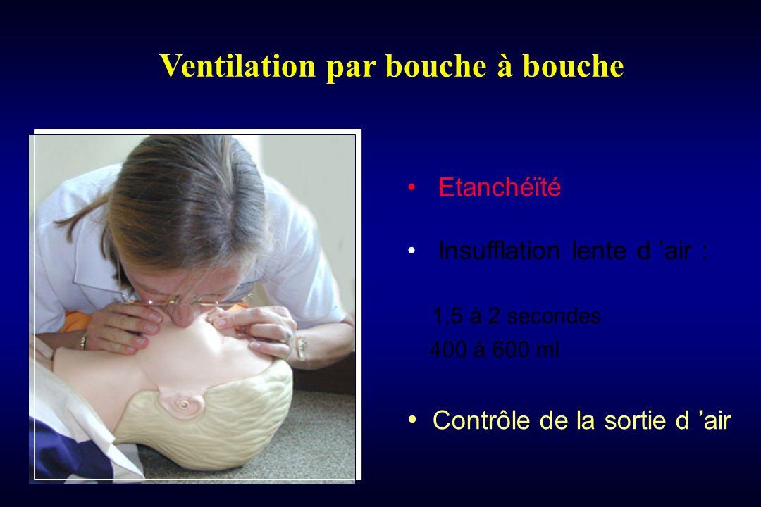 Ventilation par bouche à bouche Etanchéïté Insufflation lente d air : 1,5 à 2 secondes 400 à 600 ml Contrôle de la sortie d air