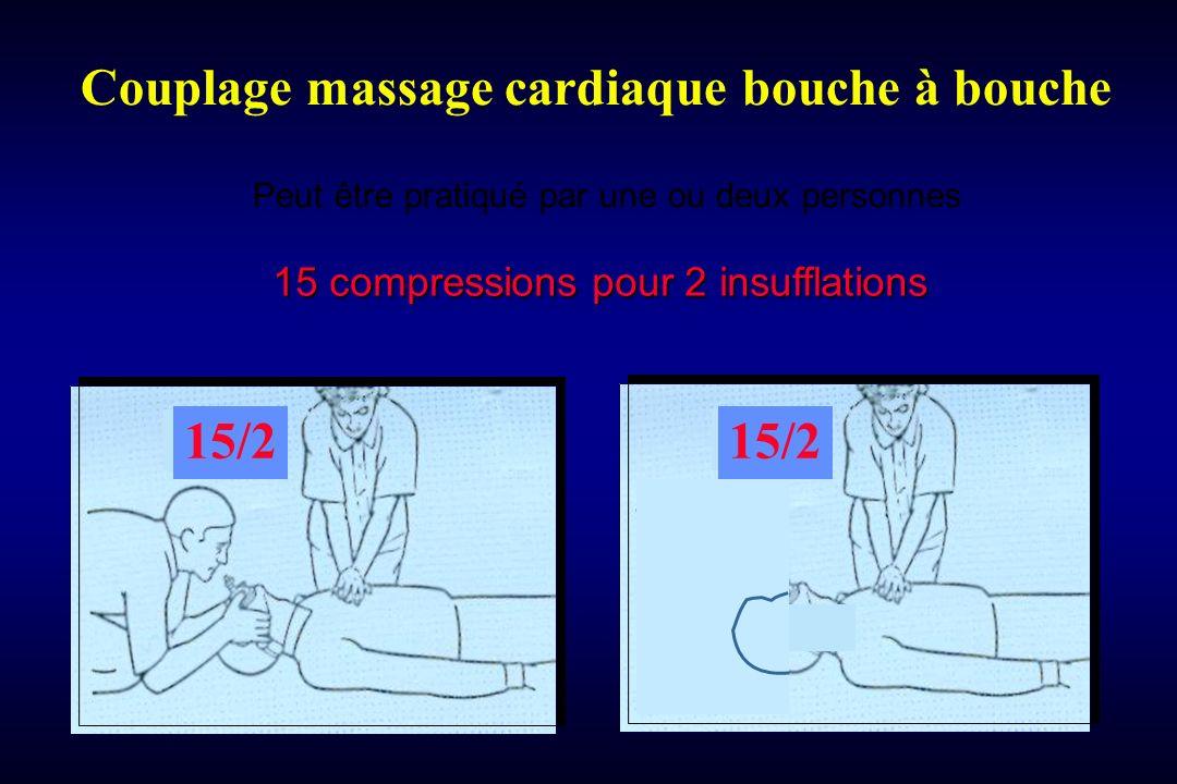 Couplage massage cardiaque bouche à bouche 15 compressions pour 2 insufflations Peut être pratiqué par une ou deux personnes 15/2