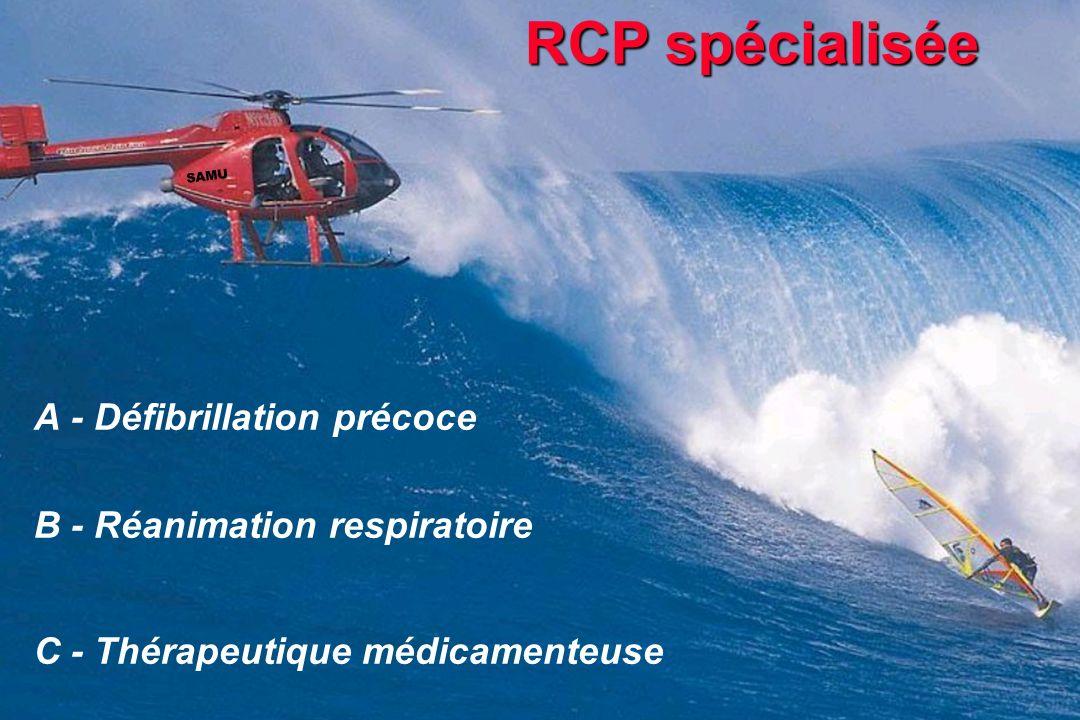 RCP spécialisée A - Défibrillation précoce B - Réanimation respiratoire C - Thérapeutique médicamenteuse SAMU