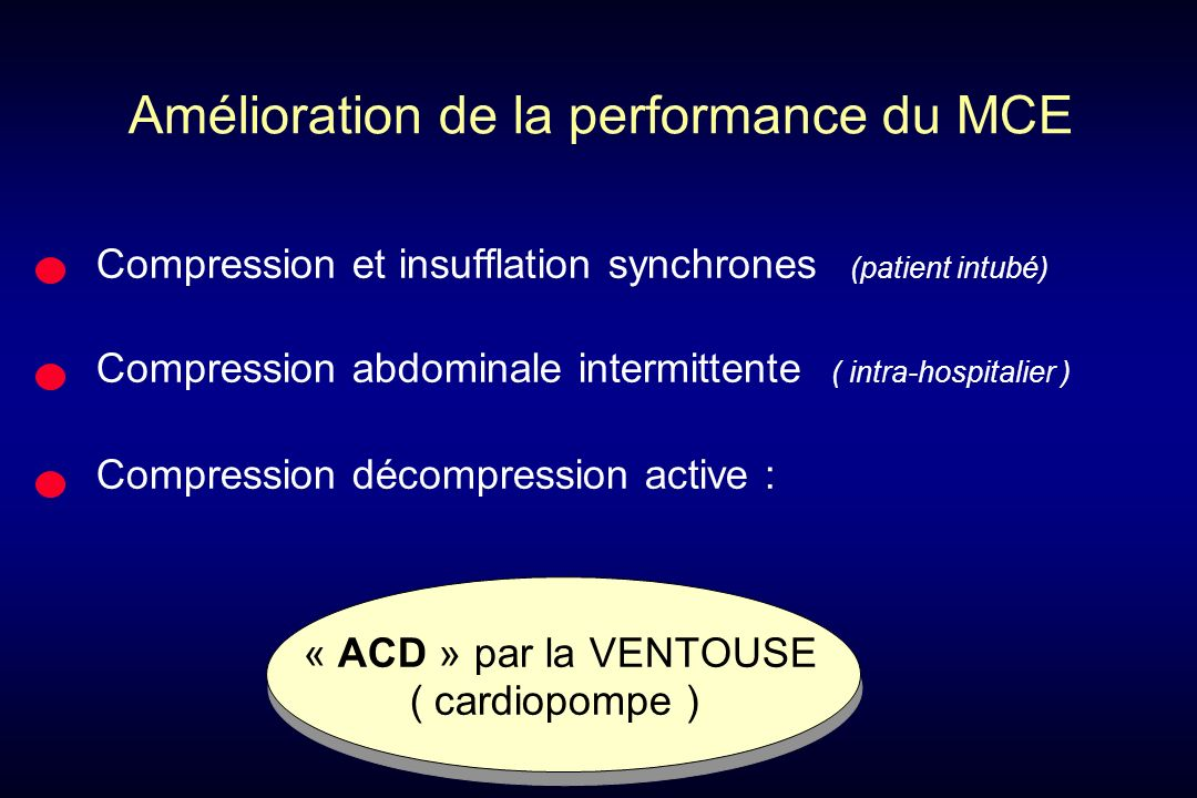Amélioration de la performance du MCE Compression et insufflation synchrones (patient intubé) Compression abdominale intermittente ( intra-hospitalier