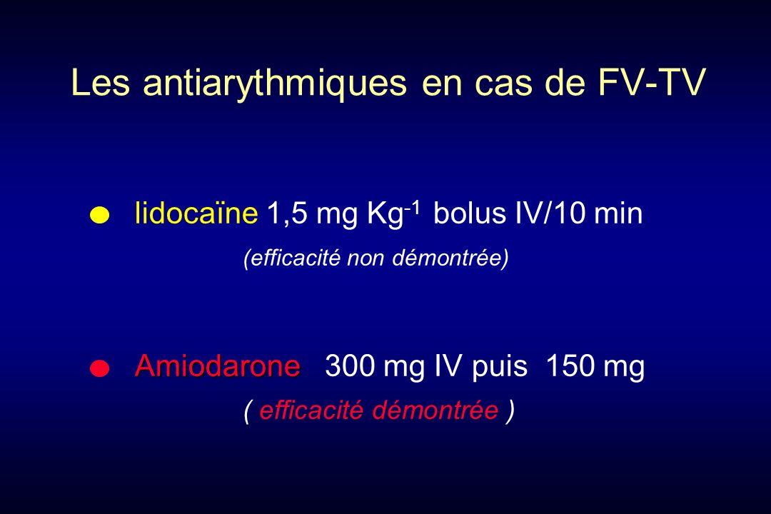 lidocaïne 1,5 mg Kg -1 bolus IV/10 min (efficacité non démontrée) Amiodarone Amiodarone 300 mg IV puis 150 mg ( efficacité démontrée ) Les antiarythmiques en cas de FV-TV