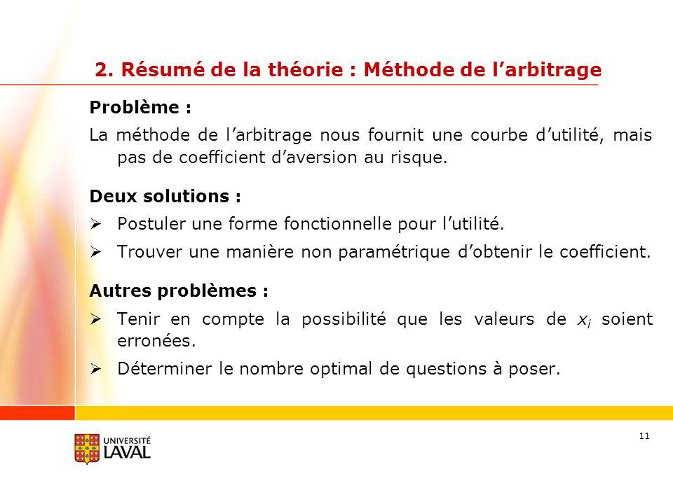 11 Problème : La méthode de larbitrage nous fournit une courbe dutilité, mais pas de coefficient daversion au risque. Deux solutions : Postuler une fo