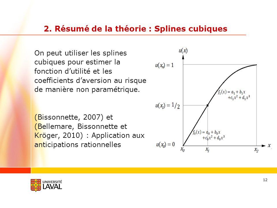 12 On peut utiliser les splines cubiques pour estimer la fonction dutilité et les coefficients daversion au risque de manière non paramétrique. (Bisso