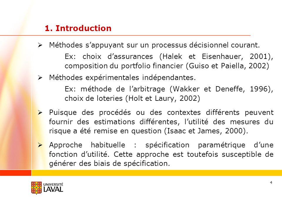 4 Méthodes sappuyant sur un processus décisionnel courant. Ex: choix dassurances (Halek et Eisenhauer, 2001), composition du portfolio financier (Guis