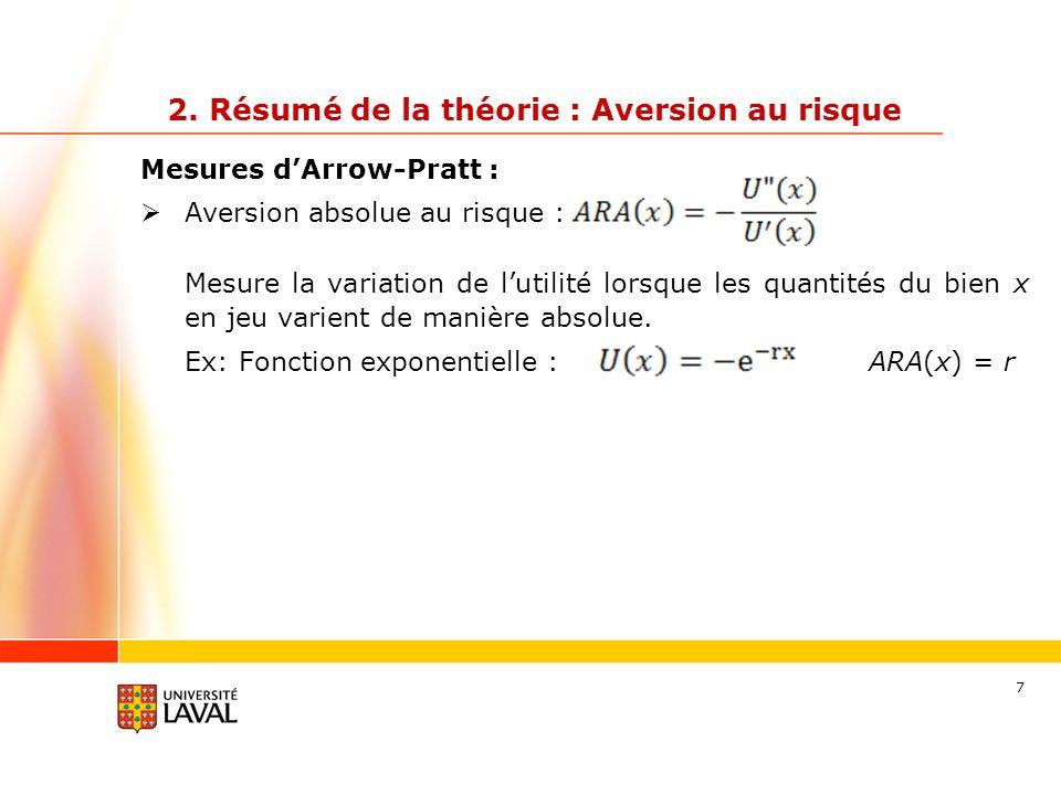 38 Concrètement… Aversion au risque absolue Ex : Fonction exponentielle : (r = 0.001) U(5) = -0.995012 U(10) = -0.990050 U(15) = -0.985112 U(20) = -0.980199 Ex : Fonction puissance: (r = 0.5) U(5) = 2.236 U(10) = 3.162 U(15) = 3.873 U(20) = 4.472 +0.499% Aversion absolue au risque constante