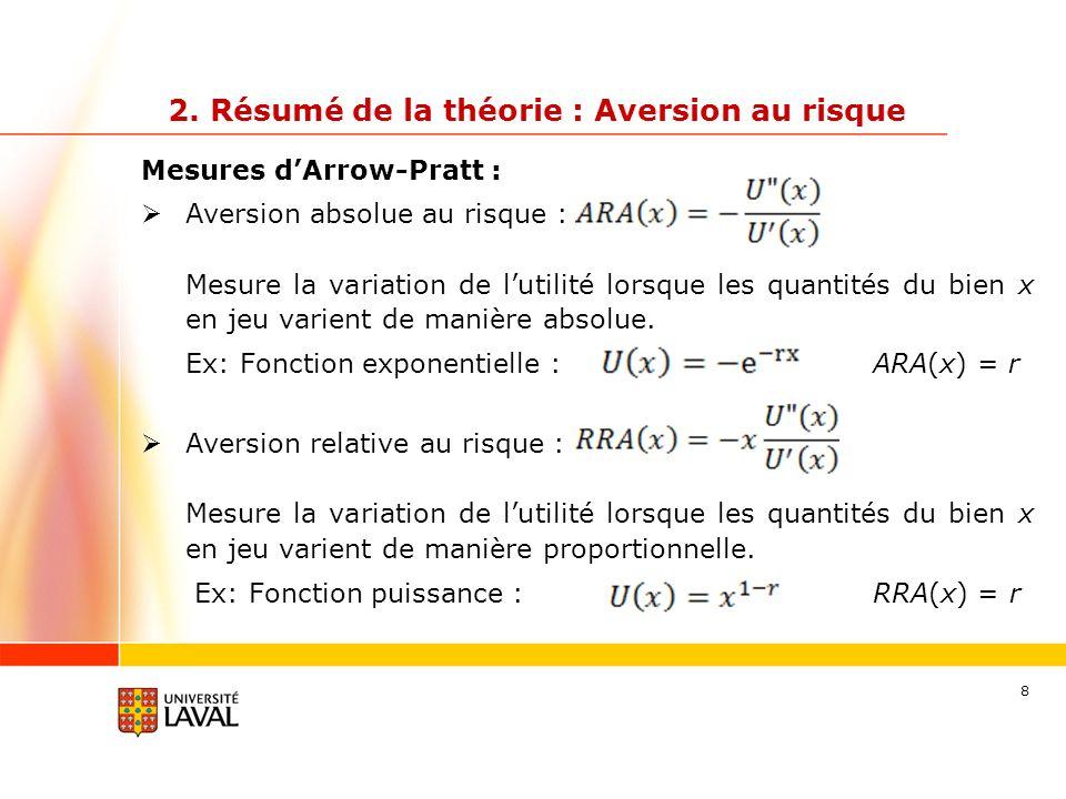 39 Concrètement… Aversion au risque absolue Ex : Fonction exponentielle : (r = 0.001) U(5) = -0.995012 U(10) = -0.990050 U(15) = -0.985112 U(20) = -0.980199 Ex : Fonction puissance: (r = 0.5) U(5) = 2.236 U(10) = 3.162 U(15) = 3.873 U(20) = 4.472 +0.499% +41.42% +22.47% +15.47% Aversion absolue au risque constante Aversion absolue au risque décroissante