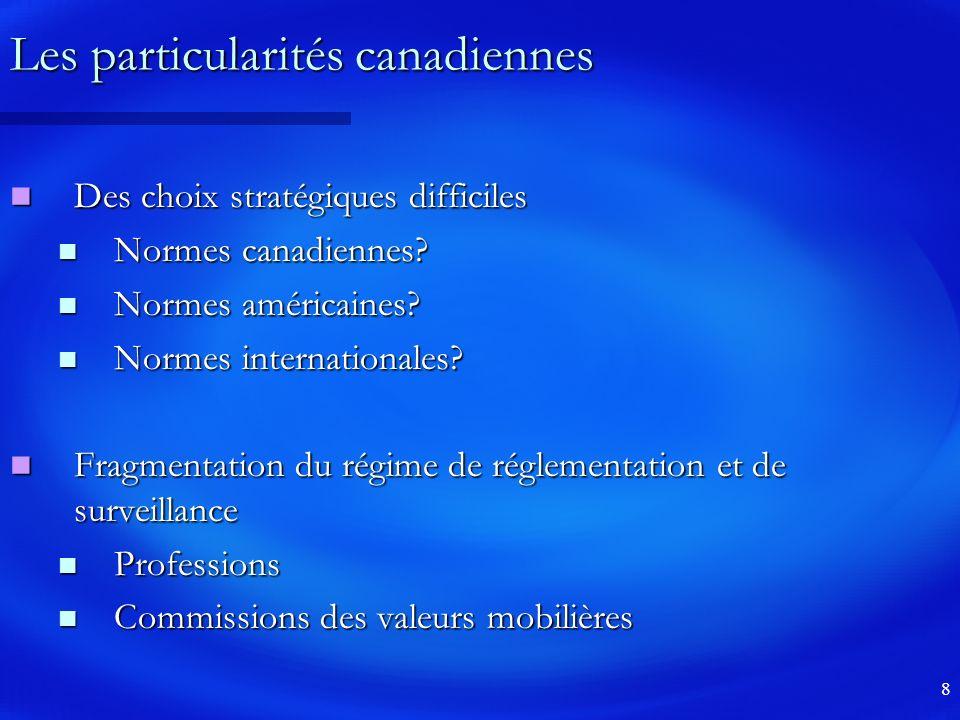8 Les particularités canadiennes Des choix stratégiques difficiles Des choix stratégiques difficiles Normes canadiennes.