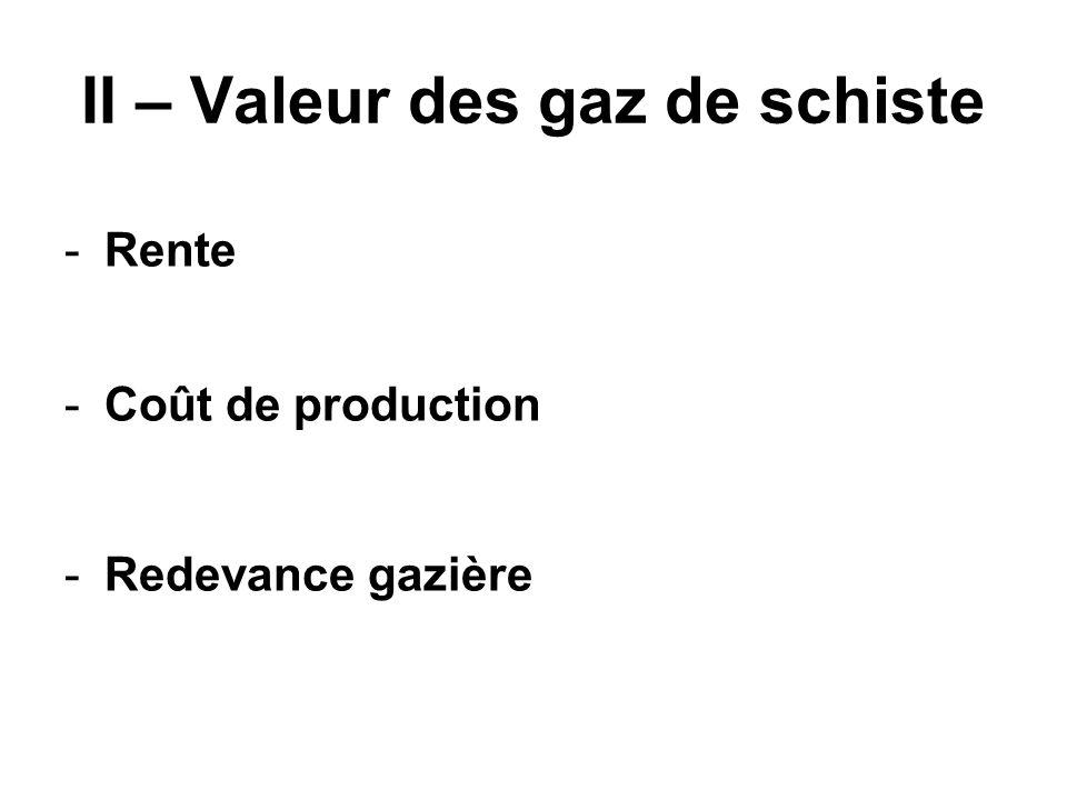 II – Valeur des gaz de schiste -Rente -Coût de production -Redevance gazière