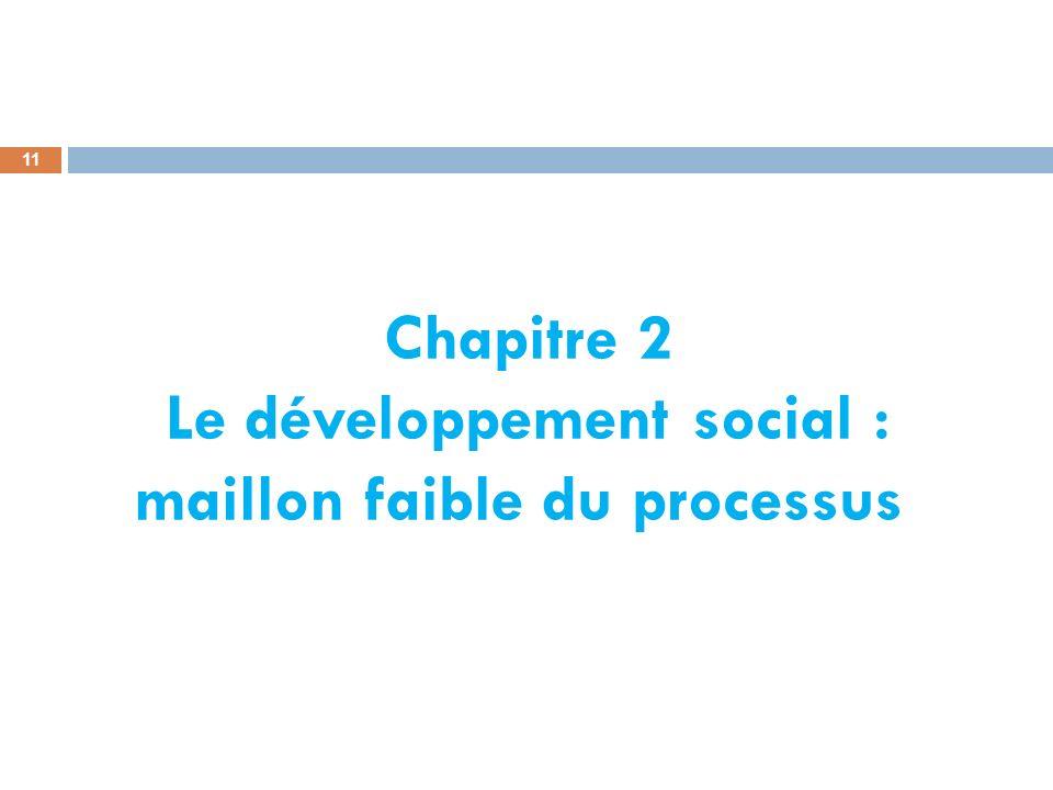Chapitre 2 Le développement social : maillon faible du processus 11