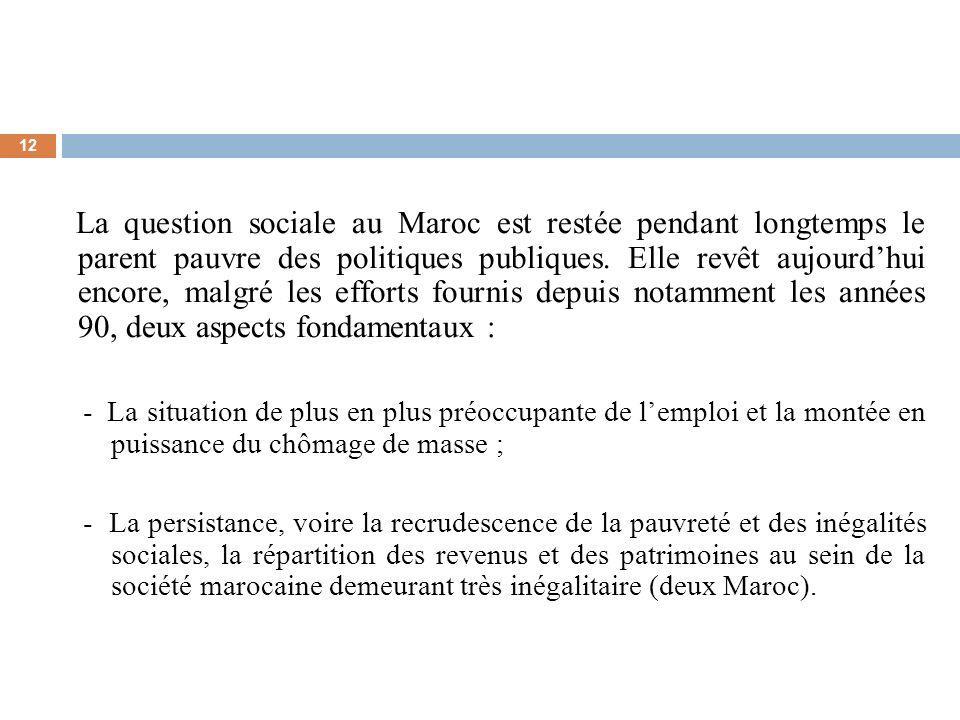 12 La question sociale au Maroc est restée pendant longtemps le parent pauvre des politiques publiques. Elle revêt aujourdhui encore, malgré les effor