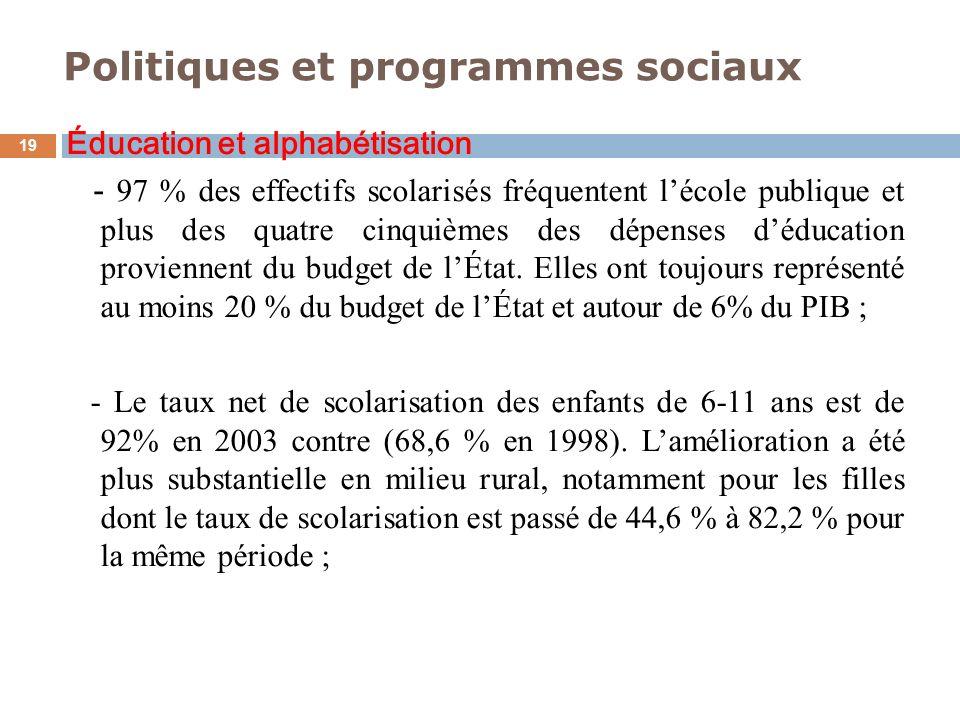 Politiques et programmes sociaux 19 Éducation et alphabétisation - 97 % des effectifs scolarisés fréquentent lécole publique et plus des quatre cinqui