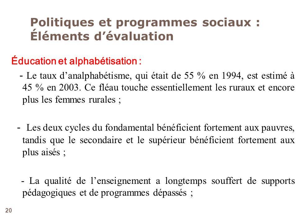 20 Politiques et programmes sociaux : Éléments dévaluation Éducation et alphabétisation : - Le taux danalphabétisme, qui était de 55 % en 1994, est es