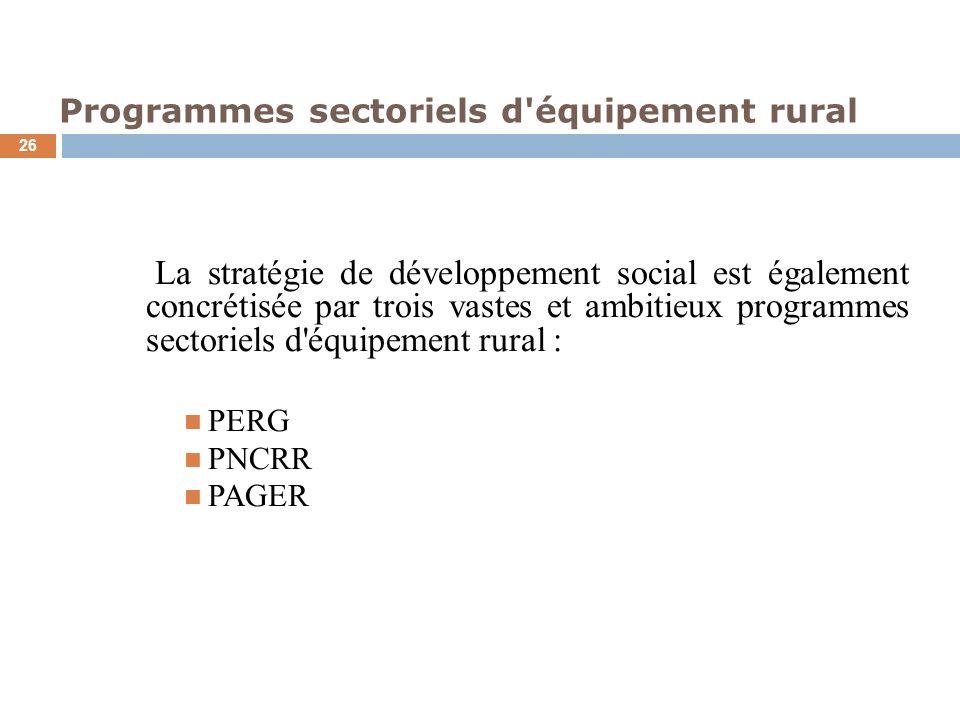 Programmes sectoriels d'équipement rural 26 La stratégie de développement social est également concrétisée par trois vastes et ambitieux programmes se