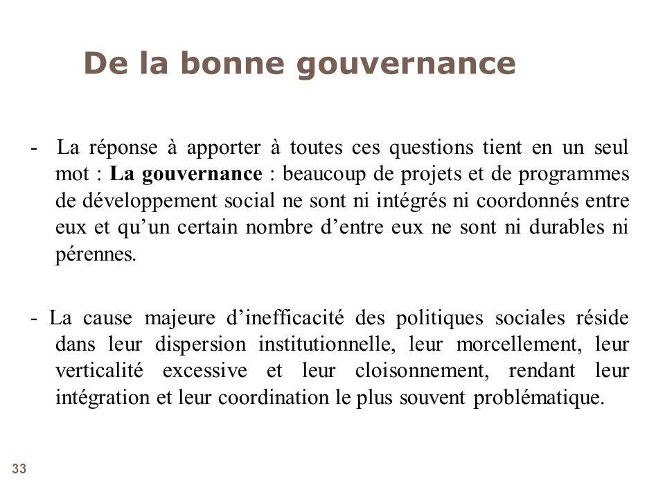 33 - La réponse à apporter à toutes ces questions tient en un seul mot : La gouvernance : beaucoup de projets et de programmes de développement social