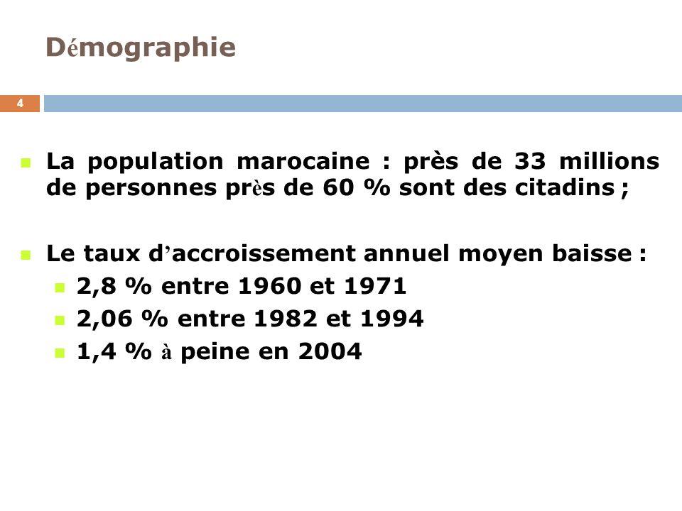 D é mographie 4 La population marocaine : près de 33 millions de personnes pr è s de 60 % sont des citadins ; Le taux d accroissement annuel moyen bai