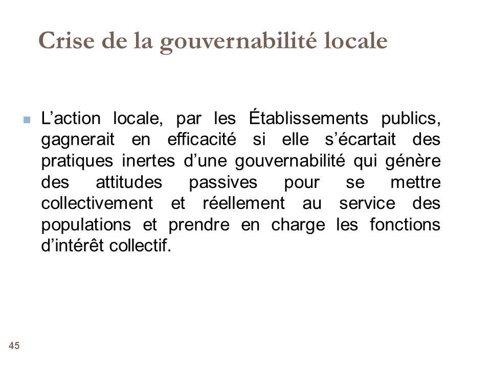45 Laction locale, par les Établissements publics, gagnerait en efficacité si elle sécartait des pratiques inertes dune gouvernabilité qui génère des