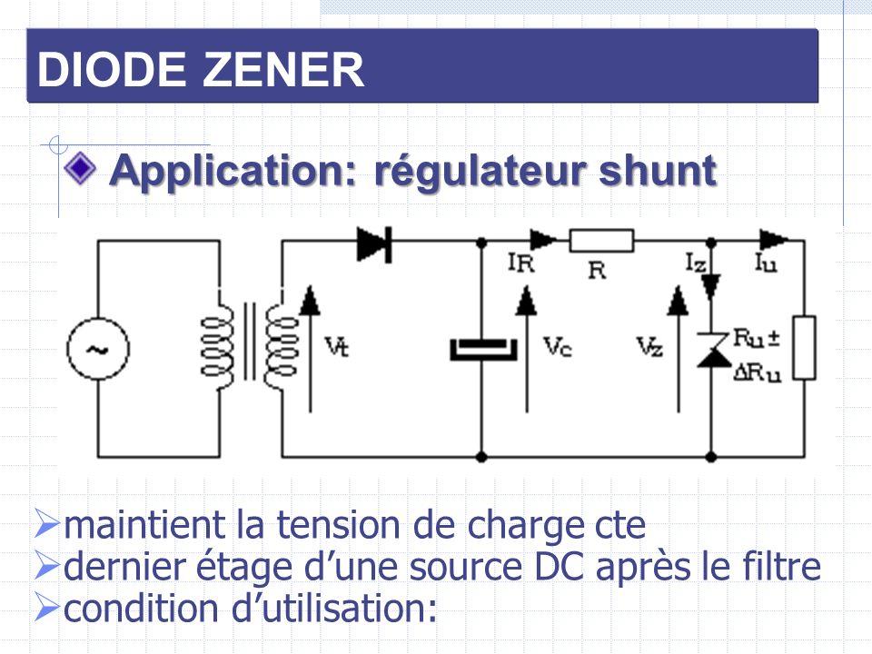 DIODE ZENER Application: régulateur shunt Application: régulateur shunt maintient la tension de charge cte dernier étage dune source DC après le filtr