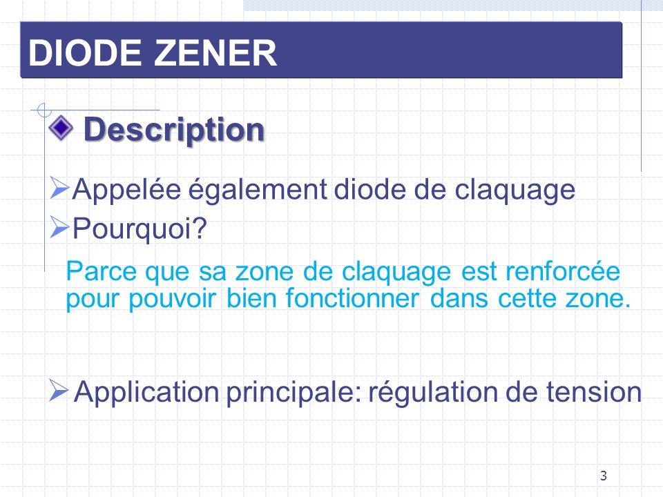 DIODE ZENER Application Réaliser une alimentation stabilisée 12v - 30mA, à partir d une source de tension constante 24v On choisit une diode Zener BZX 55 - C12, dont les caractéristiques techniques sont: Vz=12V, Pz=500mW, Izmaxi=32mA On suppose Izmini=0 (diode parfaite) 1/ Calculer la valeur de la résistance de protection (pour R ) on prend: Rp = 390