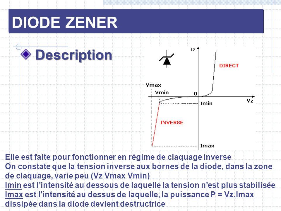 DIODE ZENER Description Description Elle est faite pour fonctionner en régime de claquage inverse On constate que la tension inverse aux bornes de la