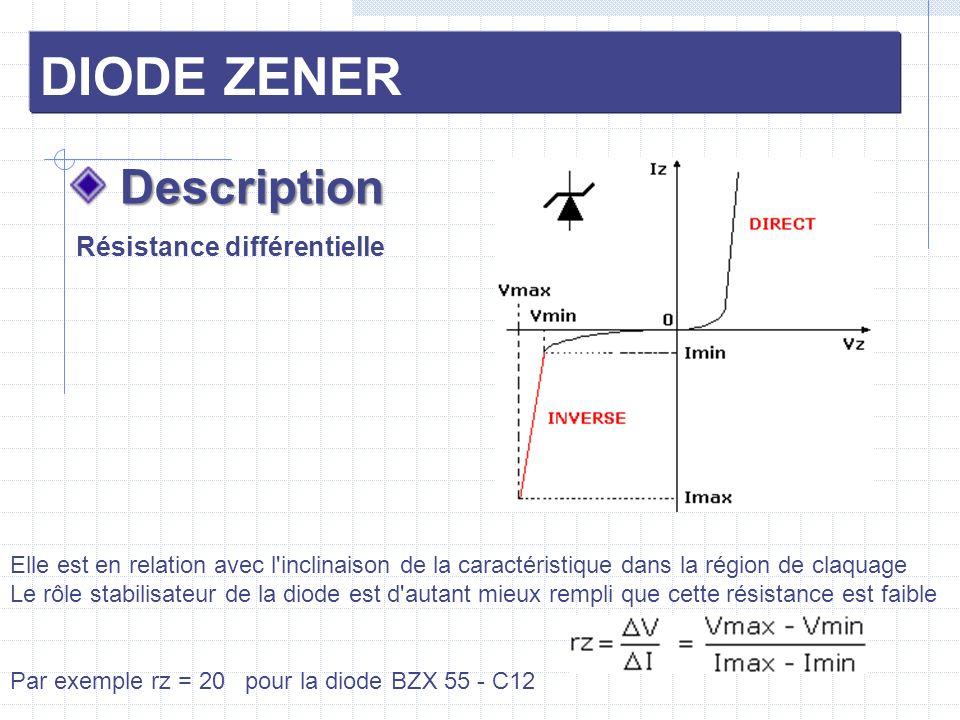 DIODE ZENER Description Description Source de tension constante Pour que la stabilisation soit effective, il faut que Iz soit toujours compris dans les limites Imin < Iz < Imax En connaissant U et Uz, ainsi que Imin et Imax, on détermine Rp