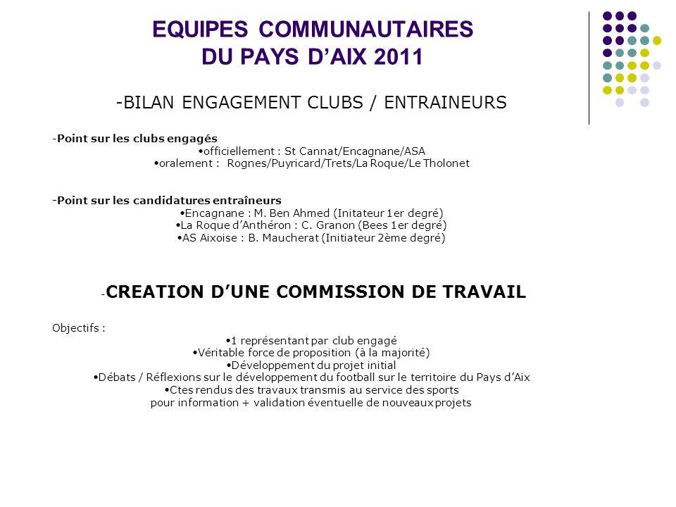 EQUIPES COMMUNAUTAIRES DU PAYS DAIX 2011 -BILAN ENGAGEMENT CLUBS / ENTRAINEURS -Point sur les clubs engagés officiellement : St Cannat/Encagnane/ASA o