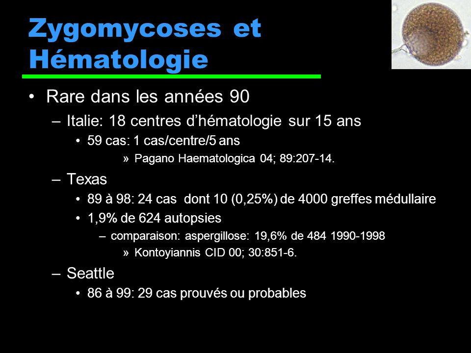 Zygomycoses et Hématologie Rare dans les années 90 –Italie: 18 centres dhématologie sur 15 ans 59 cas: 1 cas/centre/5 ans »Pagano Haematologica 04; 89:207-14.