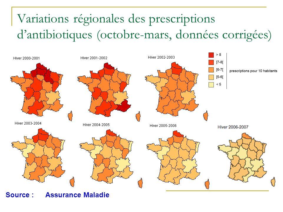 Variations régionales des prescriptions dantibiotiques (octobre-mars, données corrigées) Source :Assurance Maladie