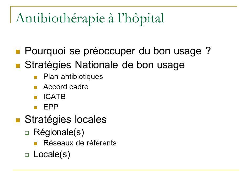 Antibiothérapie à lhôpital Pourquoi se préoccuper du bon usage ? Stratégies Nationale de bon usage Plan antibiotiques Accord cadre ICATB EPP Stratégie