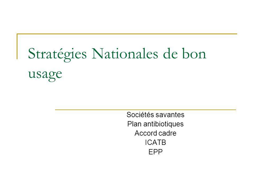 Stratégies Nationales de bon usage Sociétés savantes Plan antibiotiques Accord cadre ICATB EPP