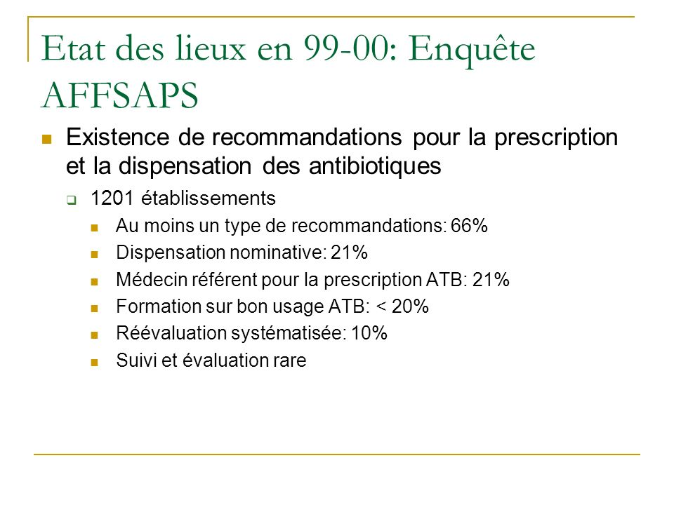 Etat des lieux en 99-00: Enquête AFFSAPS Existence de recommandations pour la prescription et la dispensation des antibiotiques 1201 établissements Au