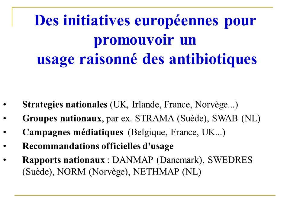 Des initiatives européennes pour promouvoir un usage raisonné des antibiotiques Strategies nationales (UK, Irlande, France, Norvège...) Groupes nation