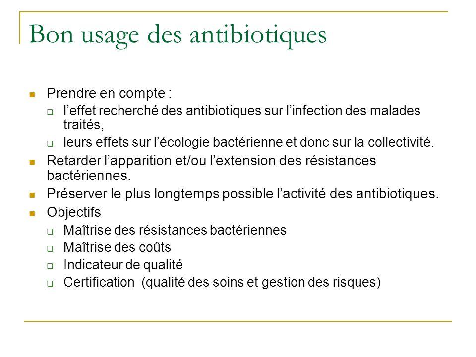 Bon usage des antibiotiques Prendre en compte : leffet recherché des antibiotiques sur linfection des malades traités, leurs effets sur lécologie bact